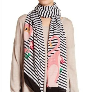 Kate Spade Rambling Roses Monkey Striped Scarf NEW